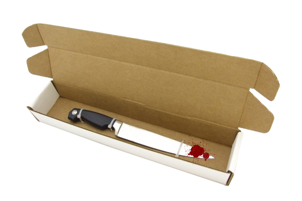 Knives that have been used to cause bodily harm or injury should be placed and secured in a cardboard box.